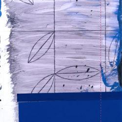 xaDanDevening, Winter Frame(6), acrylic, collage, thread on Yupo paper, 34 x 24.5cm